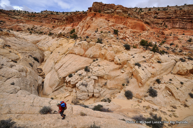 David Gordon backpacking the Beehive Traverse, Capitol Reef National Park.