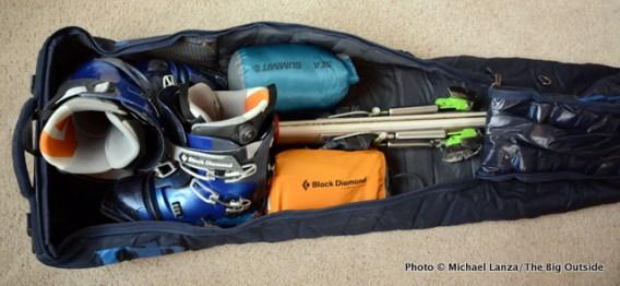 The Douchebag Ski Bag open.
