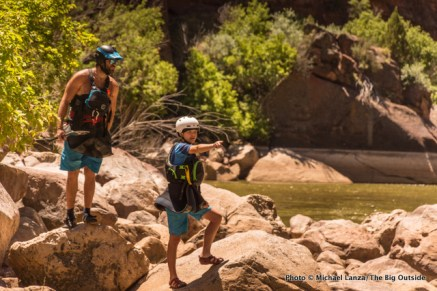 Joe and Nate scouting Triplet Falls.