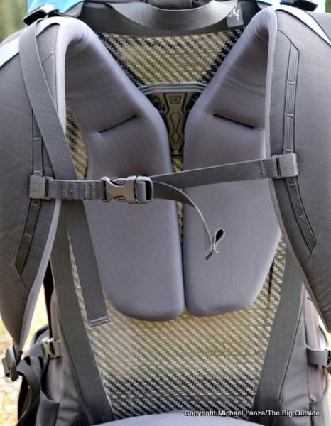 The Arc'teryx Bora AR 50 back panel.