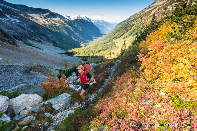 A backpacker crossing Park Creek Pass, North Cascades National Park.