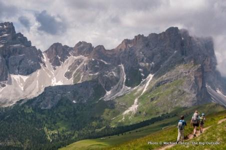 Hiking to Furcela dia Roa, Alta Via 2, Dolomite Mountains, Italy.