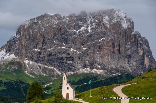 Passo Gardena, Alta Via 2, Dolomite Mountains, Italy.