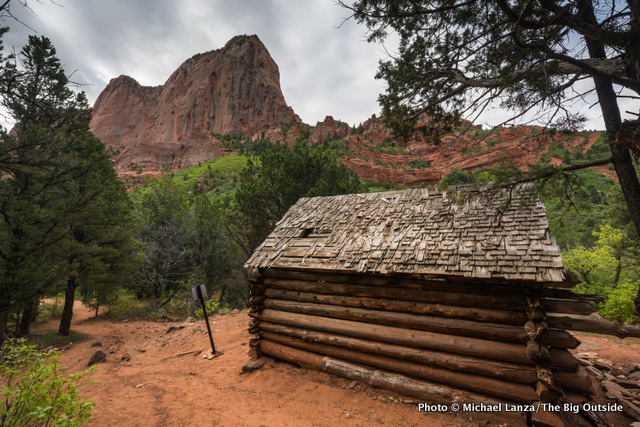 The historic Larson Cabin along the Taylor Creek Trail, Kolob Canyons area, Zion National Park.