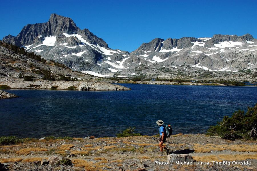 A backpacker on the John Muir Trail in the Ansel Adams Wilderness.