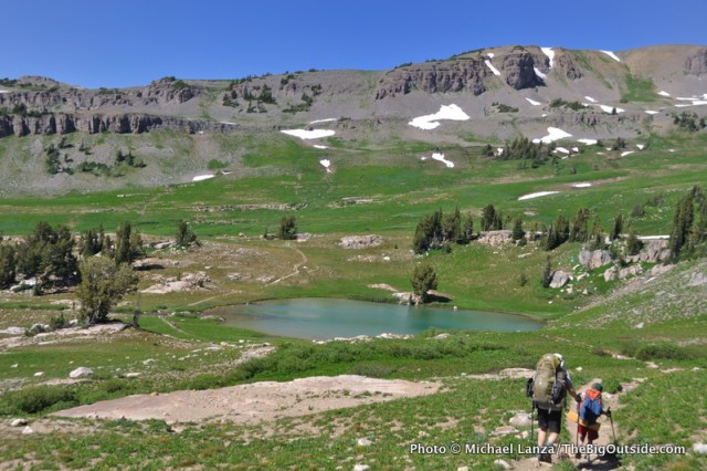 Backpackers above Sunset Lake on the Teton Crest Trail.