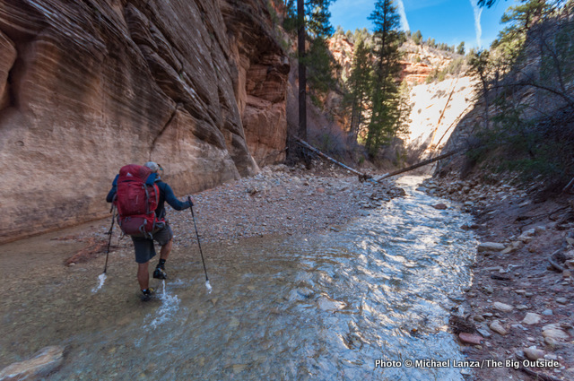 A backpacker in the upper Zion's Narrows.