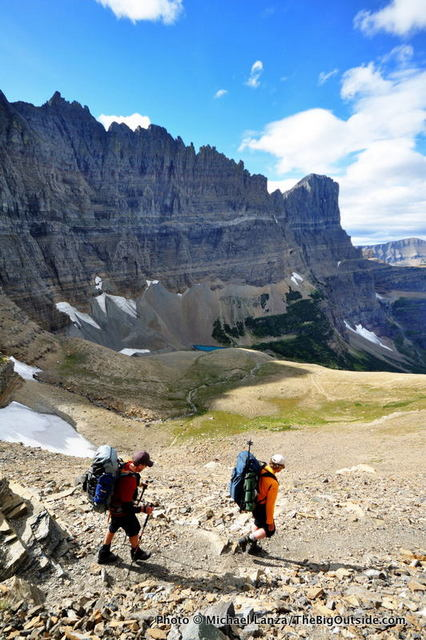 Backpackers on the Piegan Pass Trail, Glacier National Park.