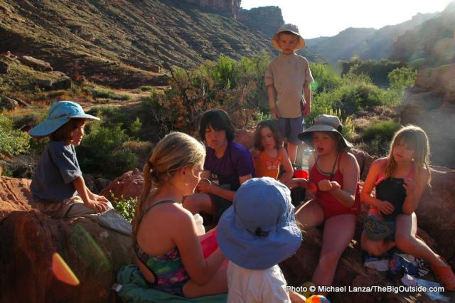 Kids on a five-day float trip down the Green River in Canyonlands National Park.
