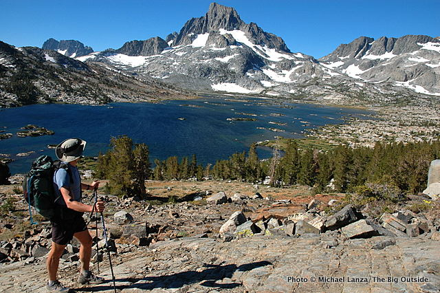 Todd Arndt above Thousand Island Lake on the John Muir Trail in the Ansel Adams Wilderness.