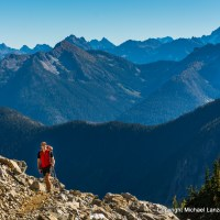 A backpacker at Park Creek Pass, North Cascades National Park.