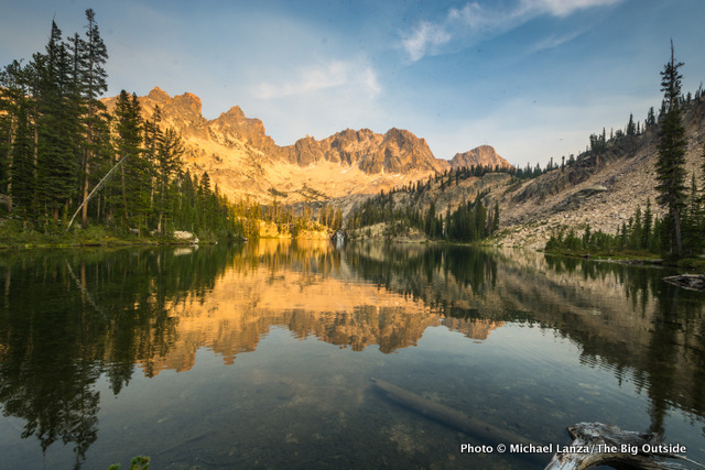 Sunset at Middle Cramer Lake, Sawtooth Mountains, Idaho.