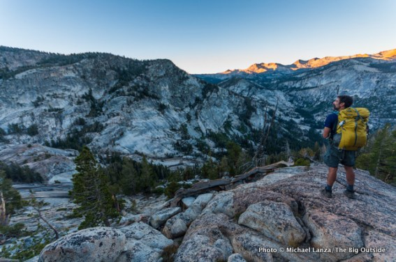 Dawn above Lyell Fork Canyon of Merced River in Yosemite.