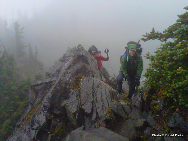 Backpackers on the Catwalk in Olympic National Park.
