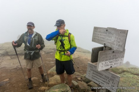 The foggy summit of Mount Lafayette, Franconia Ridge, White Mountains, N.H.