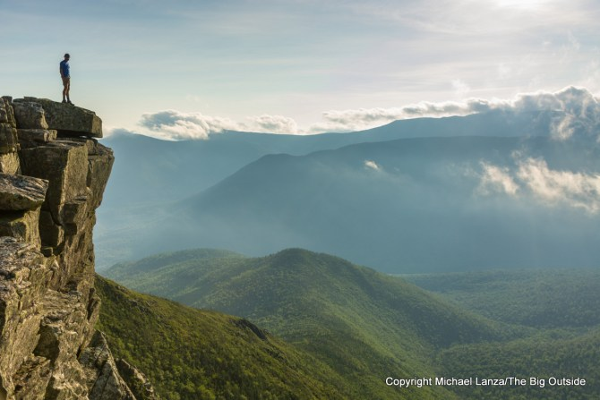 A hiker on Bondcliff, on the Pemi Loop in the White Mountains, N.H.