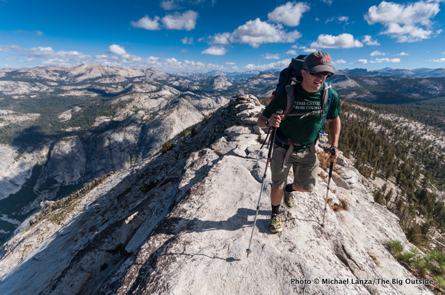 A backpacker on Clouds Rest in Yosemite National Park.