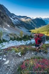 A backpacker at Park Creek Pass, North Cascades National Park.