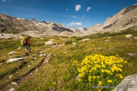 Hiking into Titcomb Basin, Wind River Range.