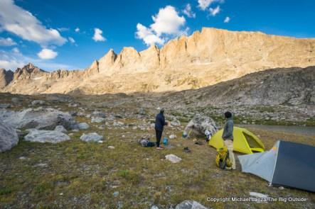 Campsite in Titcomb Basin, Wind River Range.
