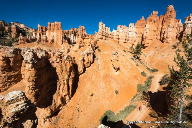 A hiker on the Peek-a-Boo Loop in Bryce Canyon National Park.