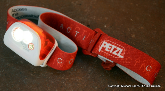 Petzl Actik Core turned on.