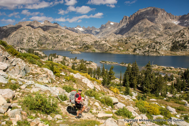 A backpacker nearing Island Lake and Titcomb Basin in Wyoming's Wind RIver Range.