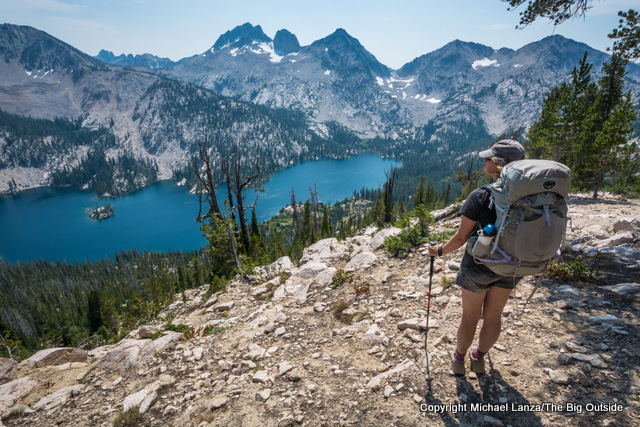 A backpacker above Toxaway Lake in Idaho's Sawtooth Mountains.