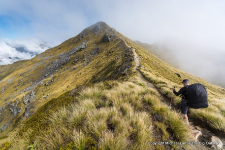 Hiking the Kepler Track above Hanging Valley shelter, Fiordland National Park.