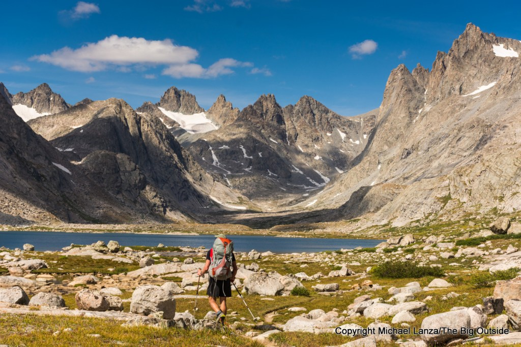 A backpacker in Titcomb Basin in Wyoming's Wind River Range.