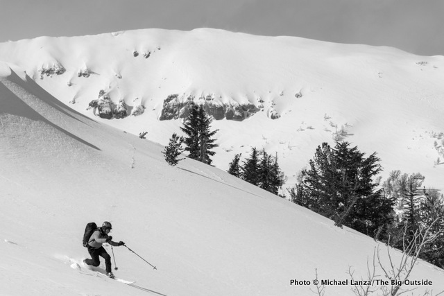 Backcountry skiing in the High Sierra above Lake Tahoe.