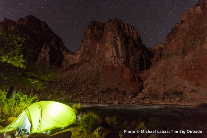A campsite by the Colorado River at Hance Rapids, Grand Canyon.