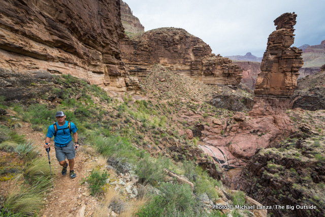 A hiker on the Tonto Trail in Monument Creek Canyon, Grand Canyon National Park.