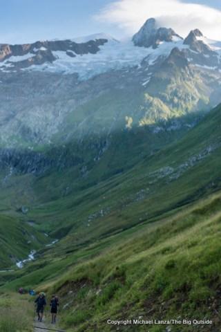 Jeff, Fiona hiking to Col de la Seigne, Tour du Mont Blanc, France.