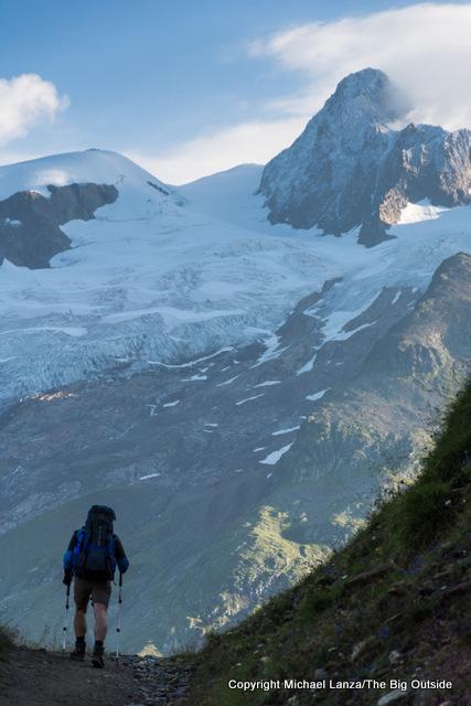 Guido hiking to Col de la Seigne, Tour du Mont Blanc, France.