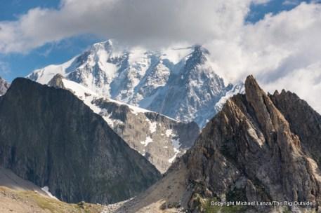 View from the Col de la Seigne toward Mont Blanc.
