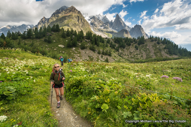 Hiking toward Courmayeur, Italy, on the Tour du Mont Blanc.