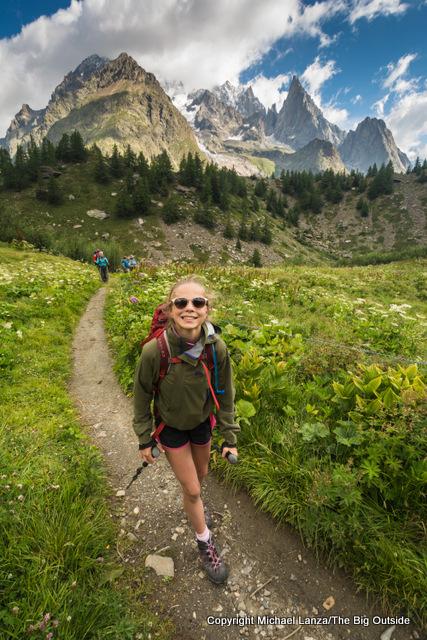 Alex hiking to Courmayeur, Italy, on the Tour du Mont Blanc.