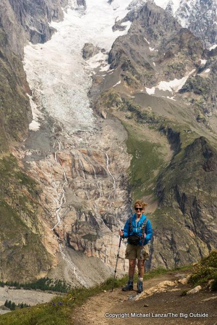 Mom en route to Courmayeur on the Tour du Mont Blanc.