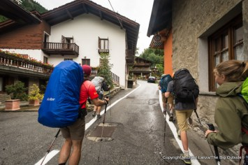 Walking through Courmayeur, Italy, on the Tour du Mont Blanc.
