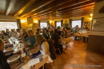 Dinner in Refugio Bonatti, Tour du Mont Blanc, Italy.