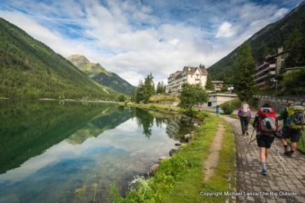 Hiking the Tour du Mont Blanc through Champex-Lac, Switzerland.