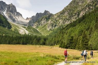 Trekking to the Fenetre d'Arpette, Tour du Mont Blanc, Switzerland.
