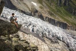 Marco at the Fenetre d'Arpette, Tour du Mont Blanc, Switzerland.