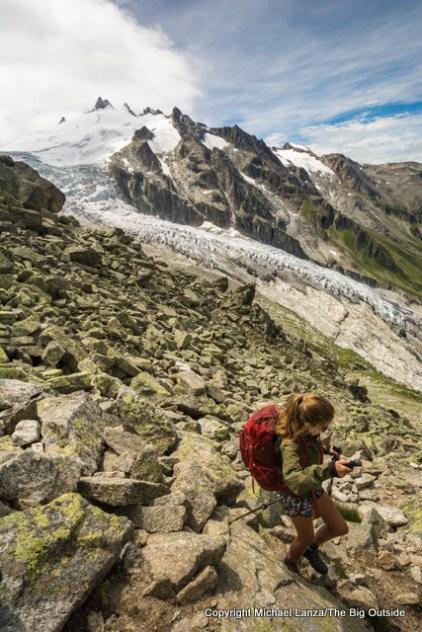 Alex descending off the Fenetre d'Arpette, Tour du Mont Blanc, Switzerland.