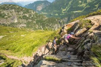 Joanne Lanza hiking from Emosson dam to Le Buet, Switzerland.