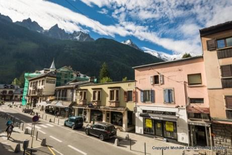 Mont Blanc towering above Chamonix, France.
