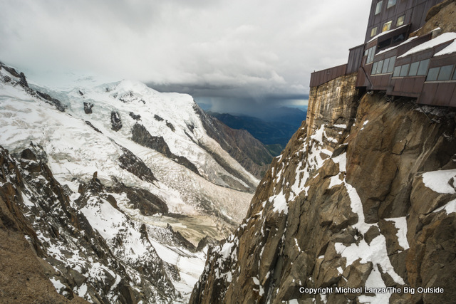 At the upper station of the Aiguille du Midi gondola from Chamonix.