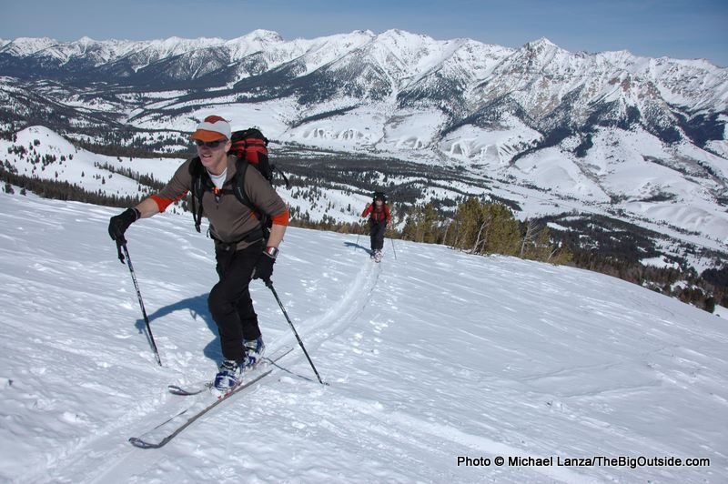 Backcountry skiing in Idaho's Smoky Mountains above the Wood River Valley.
