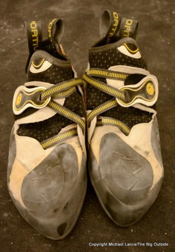 La Sportiva Solution climbing shoes.